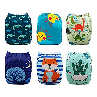 Babygoal Baby Cloth Diapers for Boys, Reusable Washable Pocket Nappy, 6pcs Diapers+6pcs Microfiber Inserts+4pcs Bamboo Inserts,Boy Color 6FB19