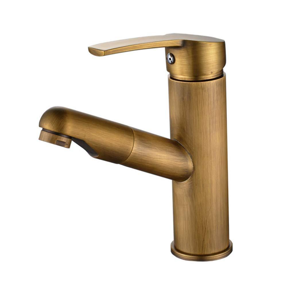 Edelstahl Küchenarmatur Wasserhahn Einhand Mischer Spültischarmatur 360° Drehbarkupferzug Kalt- Und Warmwasser-Zirkelbronze Europäischer Waschtisch-Erweißerungskopf