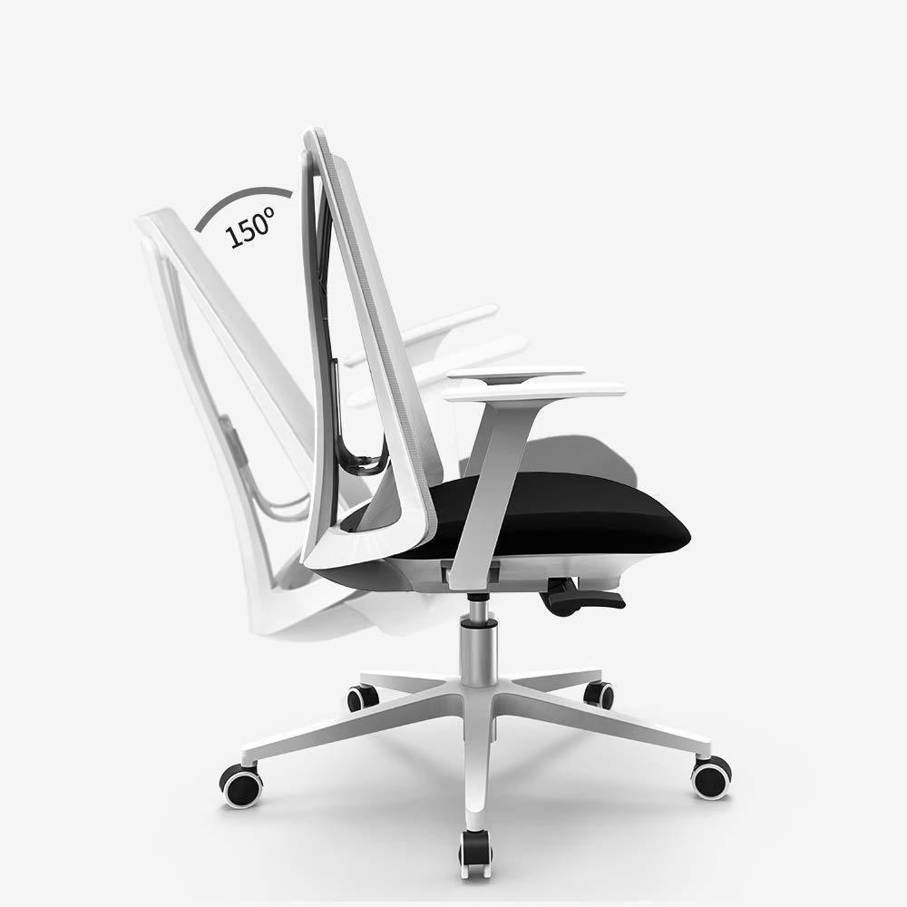 THBEIBEI Kontor skrivbordsstol spelstol datorstol uppgift skrivbord stol hem arbetsrum stol lyft ländrygg stöd 150 grader bekväm vilande andas (färg: vit) Svart