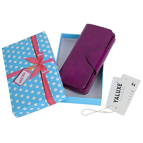 YALUXE Women's RFID Blocking Large Tri-fold Leather Wallet Ladies Luxury Zipper Clutch Fuchsia by YALUXE (Image #7)'