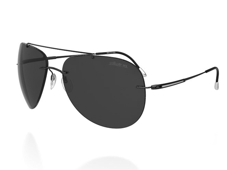 e0d7dfd4d52 Amazon.com  Silhouette Titanium Aviator Sunglasses ADVENTURER Black    Polarized 8667-6200  Clothing