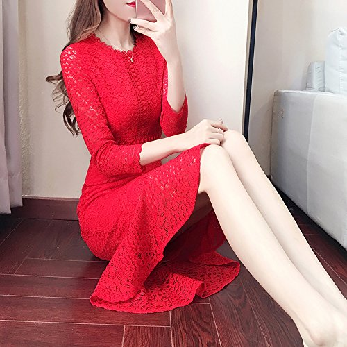 ZHUDJ Colocar Vestido Rojo Vestido De Boda Vestido Encaje En La Long Tail Paquete Compacto Hip Falda,Xl,Rojo (Spot) S
