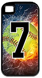 Flaming Softball Sports Fan Player Number 7 Black Rubber Hybrid Tough Case Decorative iPhone 4/4s Case