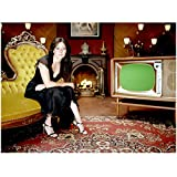 Charmed 8x10 Photo Shannen Doherty/Prue Halliwell Black Satin Dress on Settee in Livingroom w/Large TV kn