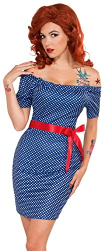 [Forum Novelties Women's Retro Rock Betty Blue Costume, Multi, X-Small/Small] (Pin Up Girl Costume Halloween)