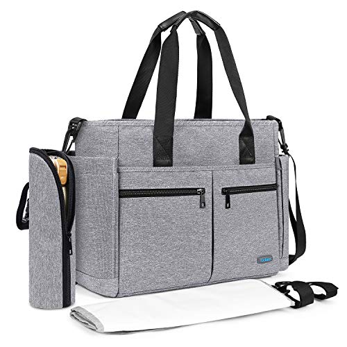 (Diaper Tote Bag, Srotek Large Baby Diaper Bag Organizer Travel Baby Bag Water-Resistant Messenger Nappy Bag with Changing Pad and Stroller Straps for Women/Girls/Mum/Boys/Dad (Gray))