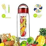 Red 23 OZ Sporty Tritan Fruit Infuser Water Bottle,sports bottle,school bottle, Leak Proof,With Handle,for Fruit, Juice, Iced Tea, Lemonade & Sparkling Beverages-with 2 Gifts