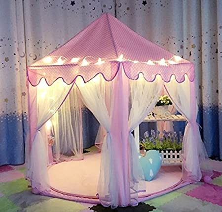 "IsPerfect Kids Indoor Princess Castle Play Tents,Outdoor Large Playhouse With 23 Feet Led Star Lights,Perfect Outdoor Child Toys - 55""x 53""(DxH)"
