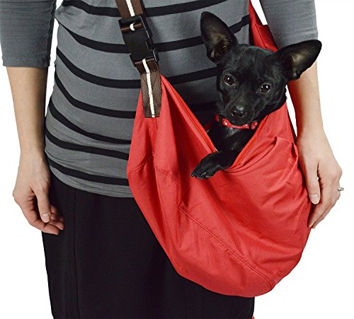 - Wewalab Red Pet Sling Carrier With Shoulder Pad for Small To Medium Dog- Cloth Totes and Carriers By Cozy Courier -Size Medium Pet Carrier