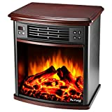 Charleston Portable Electric Fireplace Stove with Remote by e-Flame USA – 22-inches Tall – Nightstand Side Table - Features Heater and Fan Settings with Realistic and Brightly Burning Fire and Logs