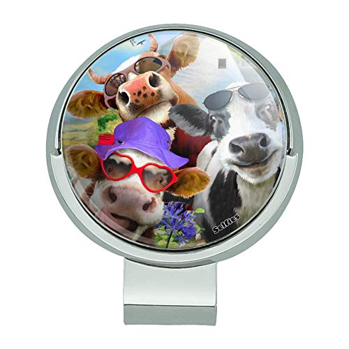 GRAPHICS & MORE Udderly Cool Cow Farm Selfie Golf Hat Clip with Magnetic Ball Marker (Cow Golf Marker Ball)