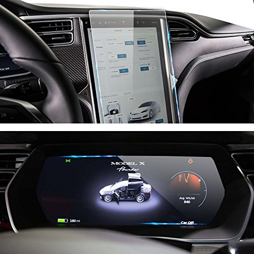 2 Pack Tesla Model S & Model X Navigation Touch Screen Tempered Glass Protector and Dash Panel Tempered Glass Screen Protector HD Anti-scratch Anti-fingerprint (Out Glass Scratches Of Take)