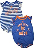 New York Mets Blue Gray Stripe Infants Girls Team Sparkle 2 Piece Creeper Set