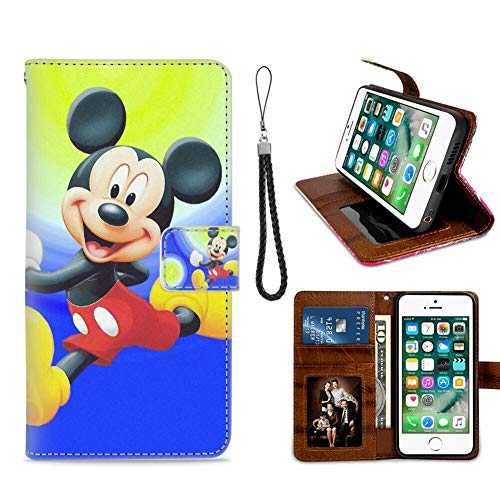 DISNEY COLLECTION Apple iPhone 8 (2017) and iPhone 7 (2016) 4.7 Inch Leather Wallet Case Mickey Mouse Cartoons Images Mobile Wallpapers HD Free Download Magnetic Closure