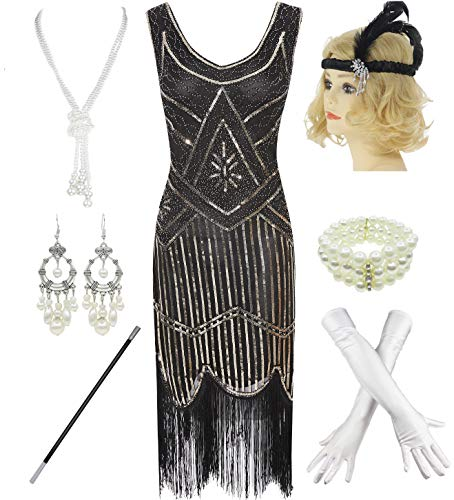 1920s Gatsby Sequin Fringed Paisley Flapper Dress with 20s Accessories Set (XS, Black-Gold) -