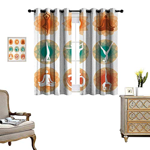 (Yoga Patterned Drape for Glass Door Different Yoga Positions Asian Physical Mental Spiritual Practice Philosophy Design Waterproof Window Curtain W72 x L45 Multicolor )