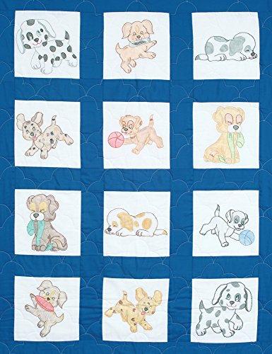 """Jack Dempsey Stamped White Nursery Quilt Blocks 9""""X9"""" 12/Pkg, Puppies"""
