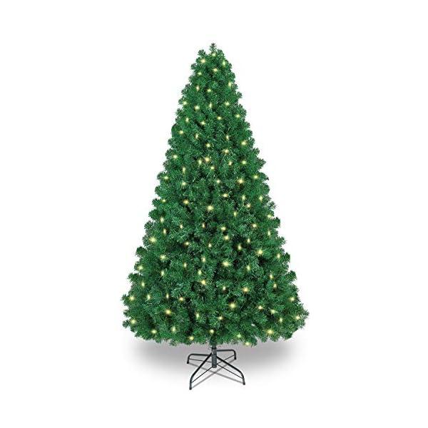 SHareconn Albero di Natale Artificiale, PVC Ago di Pino, Facile Montaggio, Supporto in Metallo, 1602 Rami, 470 LED, Verde Deco 7.5ft 1 spesavip