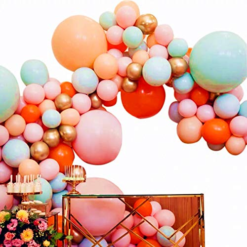 (Pinbra Pastel Balloons Garland Kit Coral Balloons Tiffany Blue Balloons Champagne and Cherry Pink Latex Balloons Gold Metallic Balloons Party Decorating Strip Tape 16ft Balloons Glue Dots 100pcs White Curling Ribbons for Baby Shower Girls Birthday Weeding Anniversary Decorations)