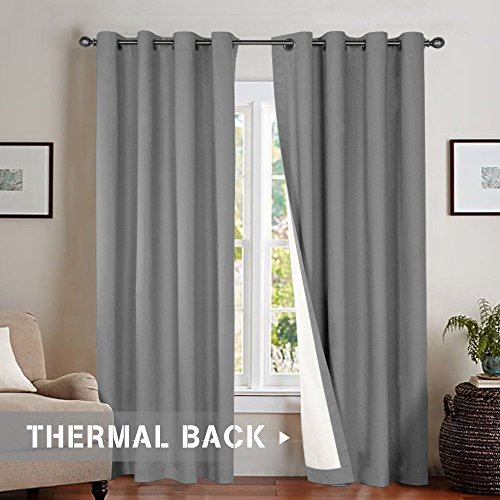 Bedroom Thermal Moderate Blackout Curtains, Energy Saving Lined Drapes for Living Room 84 Inch Length, Grey Curtain Panels Grommet Top, Sold by Pair