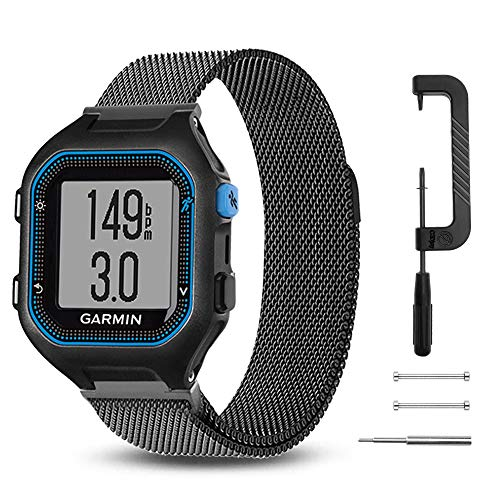 C2D JOY Compatible with Garmin Forerunner 25 (Large) Replacement Bands GPS Running Watch Milanese Loop Band, Crafted from Stainless Steel Alloy with Custom Magnetic Closures - Black, S