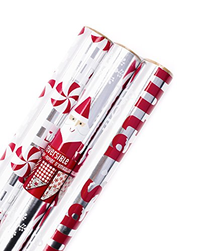 Hallmark Christmas Wrapping Paper, Santa Foil (Pack of 3, 60 sq. ft. ttl.) (Stripe Christmas Gift Wrap)
