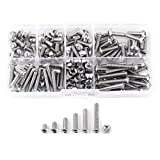 170pcs M4 Stainless Steel SS304 Hex Socket Button Head Bolts Screws Nuts Assortment Kit with Storage Box