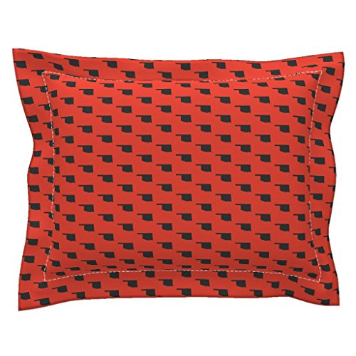 Roostery Oklahoma Euro Flanged Pillow Sham Oklahoma State - Orange by Wardandcedar Natural Cotton Sateen Made