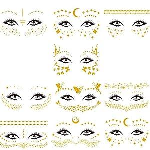 Tatuajes Temporales Cara, 10 Piezas Tatuajes de Cara y Ojos Temporales Metálicos. Pegatinas de Maquillaje a Prueba de…   DeHippies.com