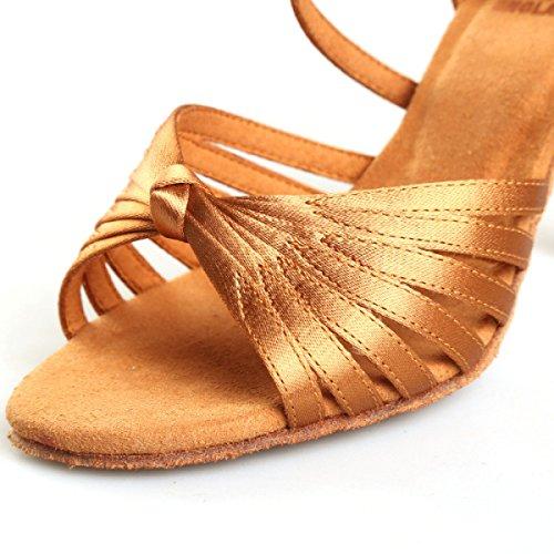 Zapatos Latinos Profesionales De La Muchacha De Las Mujeres De Satén Superior Sandalias De Salsa / Zapatos De Baile De Salón Med (más Colores) Gold