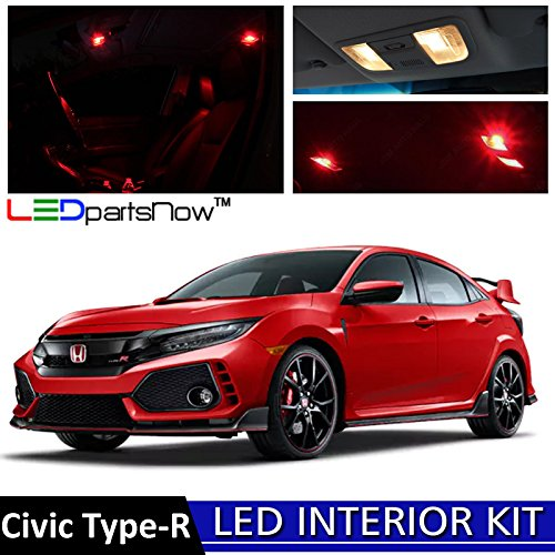 LEDpartsNow 2018 Honda Civic Type-R LED Interior Lights Accessories Replacement Package Kit (8 Pieces),RED (Honda Civic 2dr Type)
