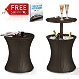 Wicker Cooler Table Outdoor Cool Bar Patio Coffee Table Garden Drinks Poolside Lawn And Garden Backyard Wine Beverage Deck Rattan Multifunctional Side Table Ice Bucket Brown And eBook By NAKSHOP
