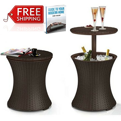 Wicker Cooler Table Outdoor Cool Bar Patio Coffee Table Garden Drinks Poolside Lawn And Garden Backyard Wine Beverage Deck Rattan Multifunctional Side Table Ice Bucket Brown And eBook By NAKSHOP by NAKSHOP