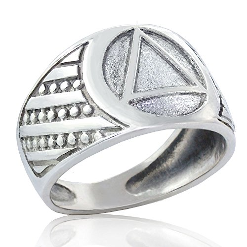 Alcoholics Anonymous Heavy Sterling Silver 925 Men's AA Unity Ring with Burled Texture