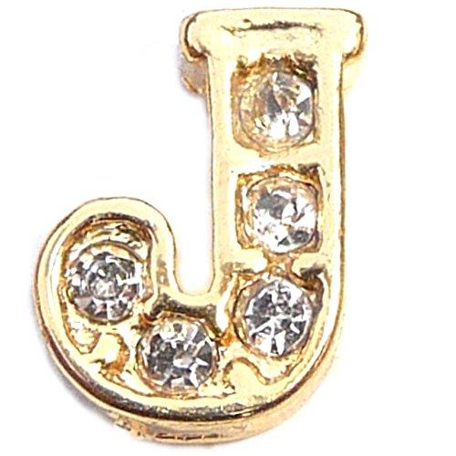 Fancy Goldtone Letter J Floating Locket Charm