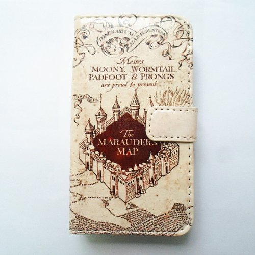 sale retailer 7c4c0 d96a4 Hogwarts Marauder's Map Pattern Slim Wallet Card Flip Stand Leather Pouch  Case Cover For Apple iphone 5 iphone 5S
