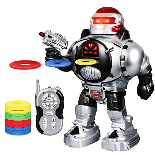 ANTAPRCIS Kids Remote Control Robot Toy - Fires Soft Missiles, Dances, Talks - RC LED Combat Programmable Interactive Fun Robotic for Boys Birthday Silver ()