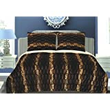 Luxurious 3pcs Set Faux Fur Animal Print Sherpa Borrego Reversible Blanket Queen Chocolate Stripe 100% Poloyester Microfiber Ultra Soft and Cozy