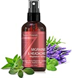 Migraine & Headache Pain Relief Magnesium Essential Oil Spray | Made in USA - 100% Natural & Organic || FREE Migraine Trigger Tracker Included (New)