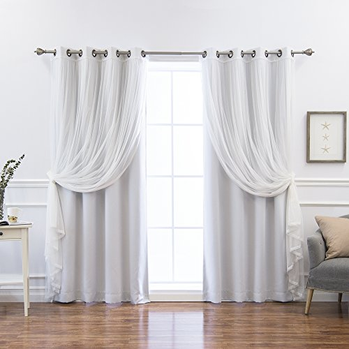 Best Home Fashion Mix & Match Colored Tulle & Blackout Curtains - Vapor - 52