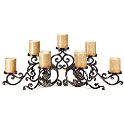 Viridian Bay Sienna Collection Pergamena Pillar Candelabra