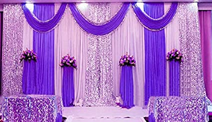 Wedding Party Backdrop 2m X 2m White Ivory Gold Stage Photography Background Wedding Venue Decorations