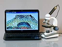 AmScope M150C-50WM-50P100S Compound Monocular Microscope, WF10x and WF25x Eyepieces, 40x-1000x Magnification, LED Illumination, Brightfield, Single-Lens Condenser, Coaxial Coarse and Fine Focus, Plain Stage, 110V, Includes Set of 50 Prepared Slides, 50 Bl