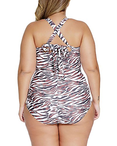 Lalagen Women's Retro Vintage Hollow Out Two Piece Swimwear Set Plus Size Swimsuit Leopard XXXL