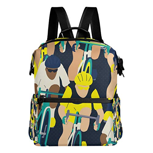 TARTINY Group Cyclist Bicycle Race Seamless Pattern Laptop Backpack Leather Strap School Bag Outdoor Travel Casual Daypack