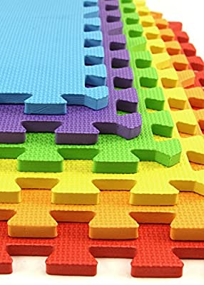 IncStores - Rainbow Foam Tiles - 2ft x 2ft Interlocking Foam Children's Portable Playmats