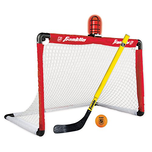 Franklin Sports Mini Hockey Goal and Stick - NHL - 36 x 24 Inches - Light Up Set Includes Adjustable Hockey Stick and Ball