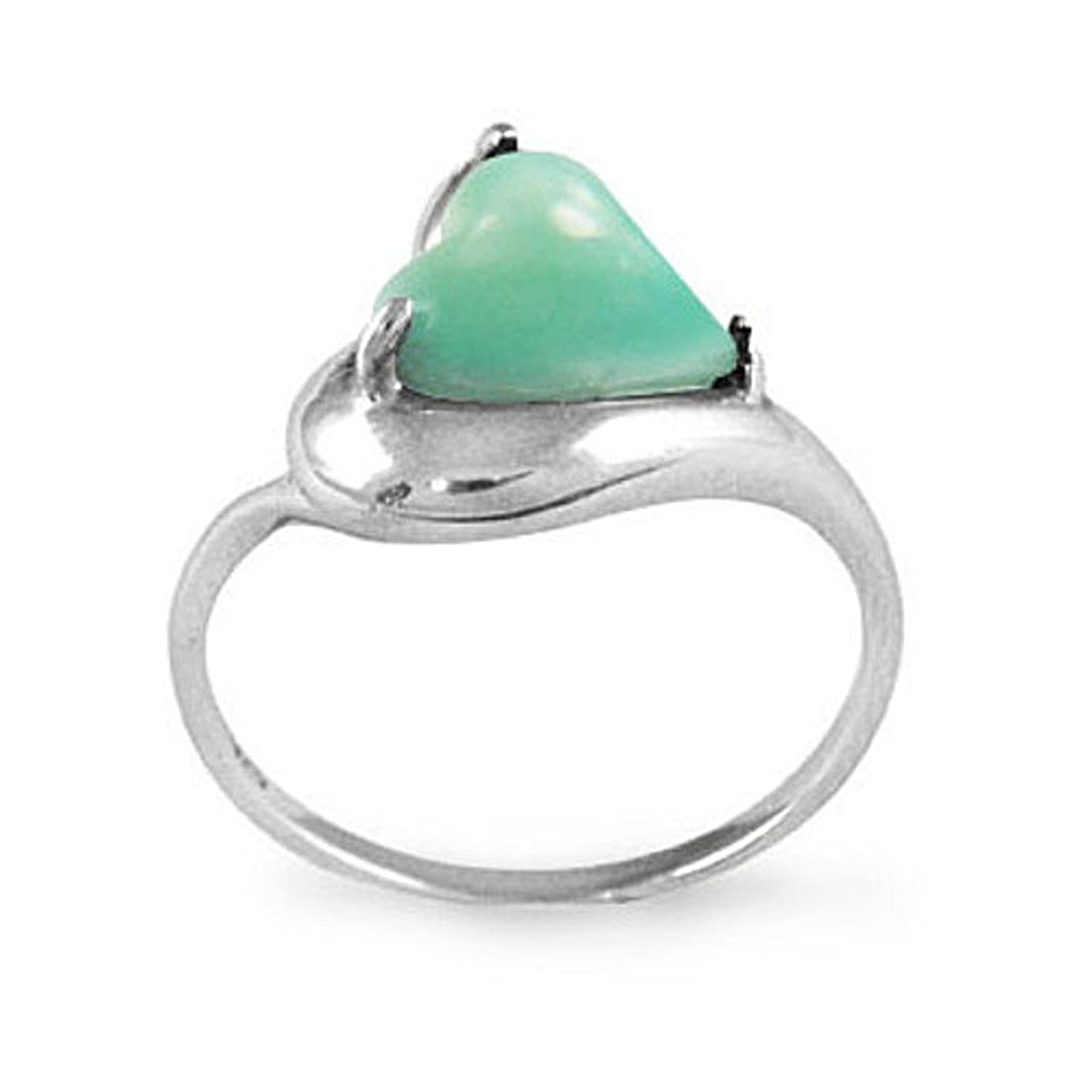 Sterling Silver Ring with Heart Shape Light-Green Chrysoprase Stone