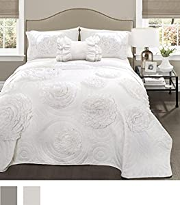 Lush Decor 16T000090 4 Piece Fiorella Quilt White Set, Full/Queen, White