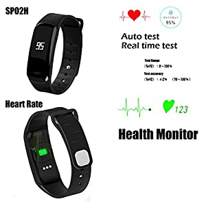 Blood Pressure Bracelet Fitness Tracker - Homestec S4 Smart Watch with SPO2H Heart rate monitor Sleeping Management Pedometer with OLED Touch Screen for Android iOS (Black)